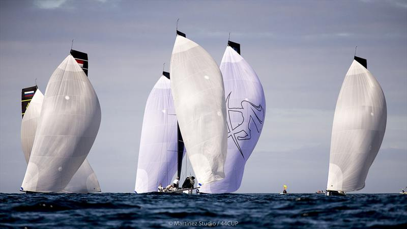 Race one was insanely close with several boat crossing the finish line overlapped - 44Cup Cascais - photo © Pedro Martinez / Martinez Studio