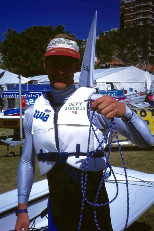 Robert Scheidt with his Rooster Polilite mainsheet - photo © Rooster Sailing