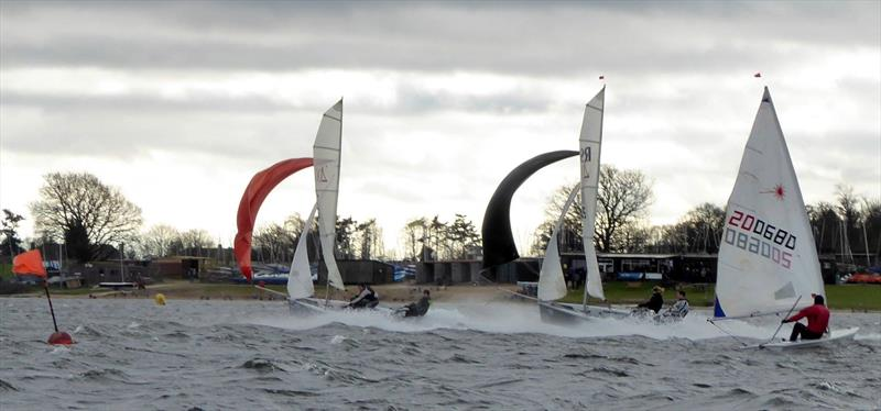 Exciting racing for the asymmetrics on day 8 of the Alton Water Frostbite Series - photo © Emer Berry