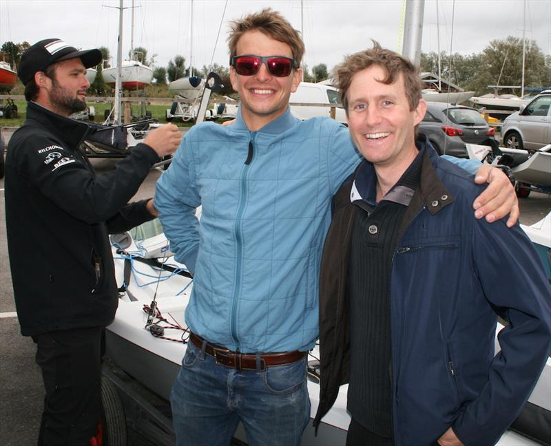 Ben Saxton and Toby Lewis ready for battle while Alan Roberts checks out the champs' rig tension ahead of the 2017 Endeavour Trophy photo copyright Sue Pelling taken at Royal Corinthian Yacht Club, Burnham and featuring the RS200 class