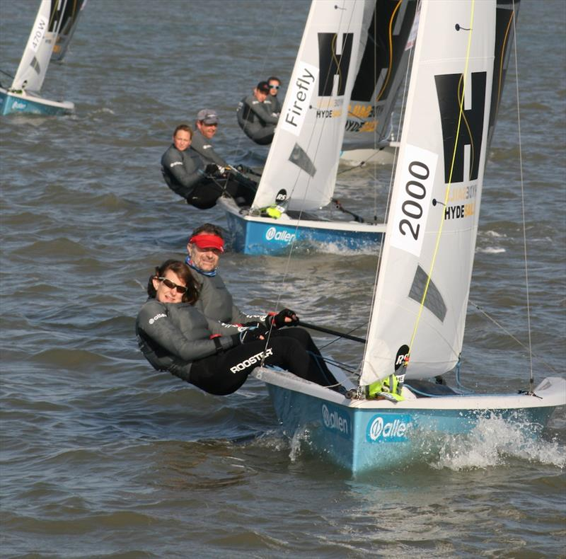 Steve and Sarah Cockerill (2000) enjoying the close racing at the front of the fleet during the 2017 Endeavour Trophy photo copyright Sue Pelling taken at Royal Corinthian Yacht Club, Burnham and featuring the RS200 class
