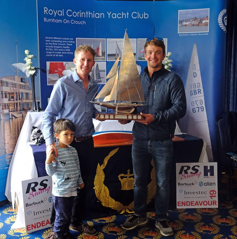 Ben Saxton (right) and Toby Lewis collect the Endeavour Trophy for the fifth time in a row photo copyright Roger Mant Photography taken at Royal Corinthian Yacht Club, Burnham and featuring the RS200 class