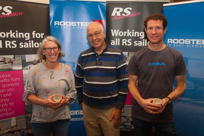 (l-r) Emma McEwen, RSC Commodore John Fothergill and Luke McEwen at the RS800 End of Season Regatta at Rutland - photo © Peter Fothergill / www.fothergillphotography.com