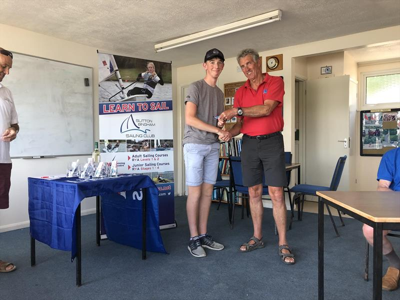Andrew Frost receiving trophy and CoastWatersports vouchers in the CoastWatersports Sutton Bingham RS Aero Open - photo © Kelsey Green