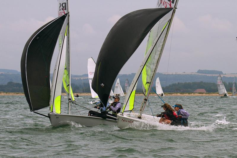 RS Fevas, one of the biggest fleets at Chichester Harbour Race Week 2017 photo copyright Kevin Richardson taken at Hayling Island Sailing Club and featuring the RS Feva class