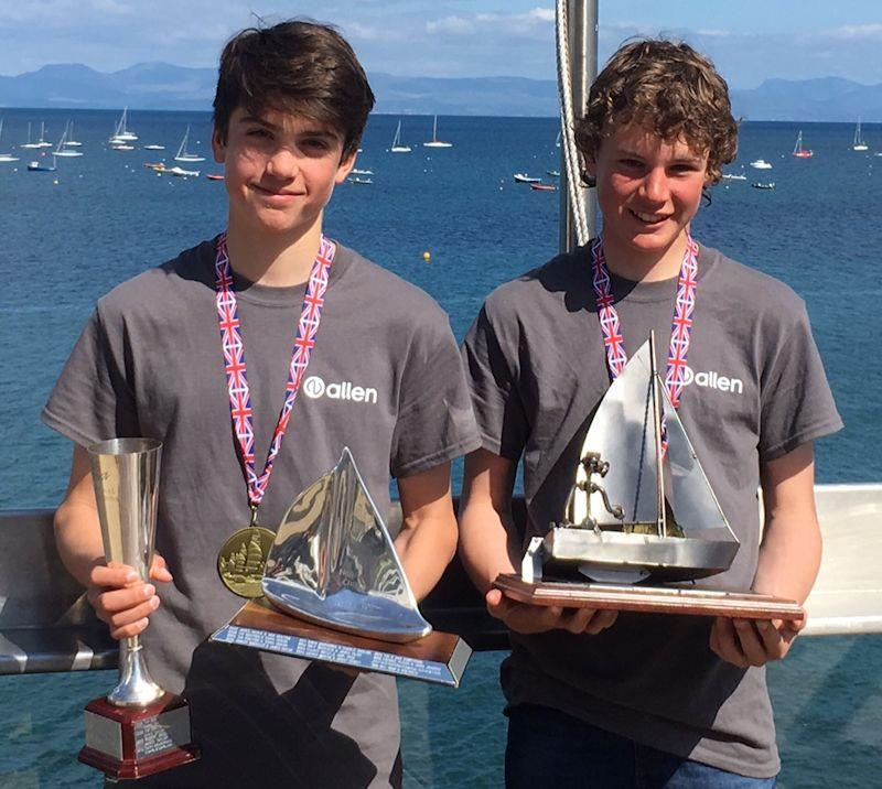 (L-R) Joey Taylor and Terry Hacker (Backwater SC) win the Tokio Marine HCC UK RS Feva Nationals 2019 - photo © Christine Brown