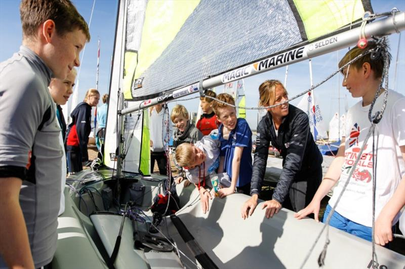 Sailors meeting Olympic Sailor Amy Seabright, at the RYA Junior Championships 2018 - photo © Paul Wyeth