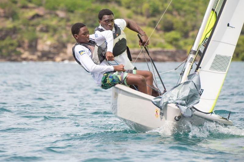 Mauriceson Valentine and Nahio James, sinners in the RS Feva Class - 2019 Caribbean Dinghy Championships - photo © Ted Martin / Antigua Photography