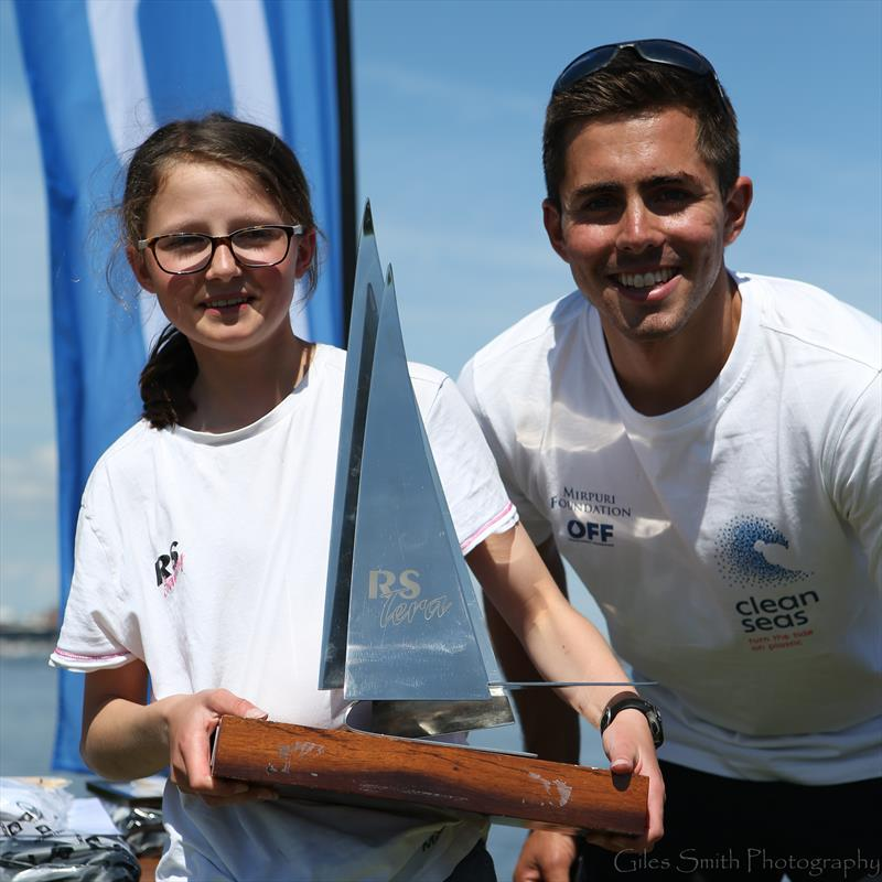 Bleddyn Mon with RS Tera Sport champion Alice Davis in the RS Tera Nationals on Cardiff Bay - photo © Giles Smith