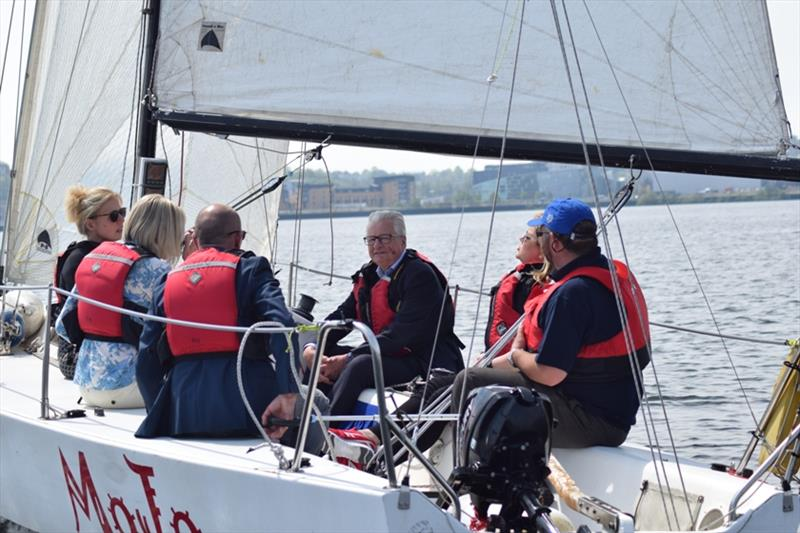 Lord Dafydd Ellis Thomas sailing in Cardiff Bay - photo © RYA Cymru Wales