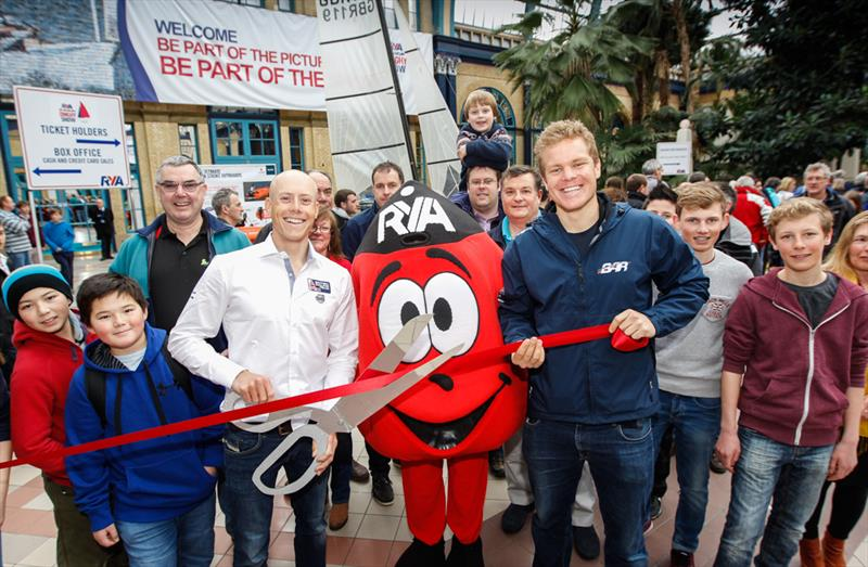 Laser World Champion Nick Thompson and Ben Ainslie Racing sailor David 'Freddie' Carr officially open the 2015 RYA Suzuki Dinghy Show  photo copyright Paul Wyeth taken at RYA Dinghy Show and featuring the  class