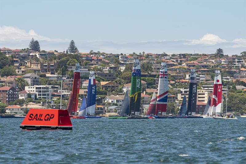 SailGP Practice race day. Six F50s line up. photo copyright © Chris Cameron / SailGP taken at  and featuring the  class