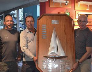 Sam Haines, Ian Walker and Chris Hampton with their 'Trophy'. Thankfully they did not have to worry about getting it on the plane home. - Etchells Brisbane Winter Championship - photo © Emily Scott