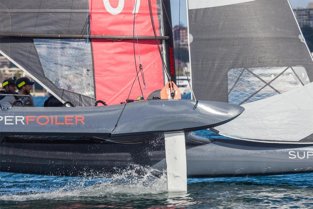 Riding out of the water in barely six knots of breeze. - SuperFoiler - photo © John Curnow