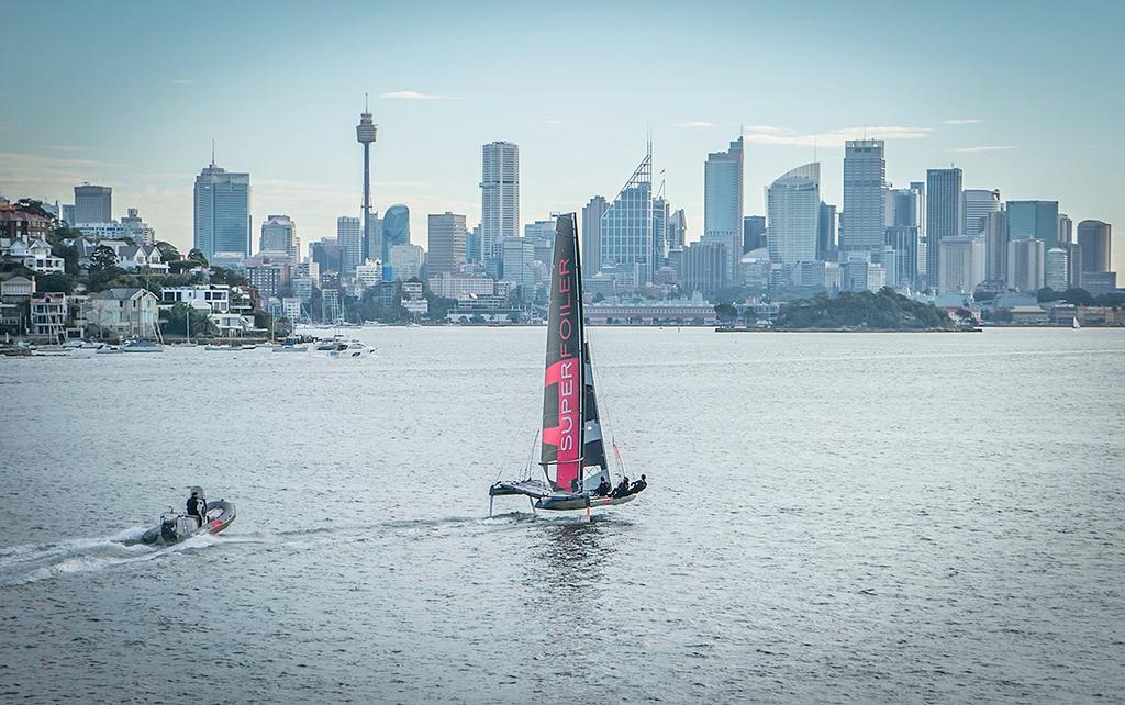 SuperFoiler in training on Sydney Harbour - SuperFoiler Grand Prix - photo © SuperFoiler http://www.superfoiler.com