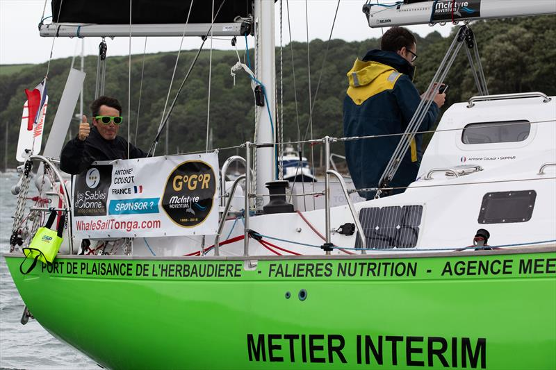 Antoine Cousot at the helm of his Biscay 36 Metier Interim - photo © Dave Hart
