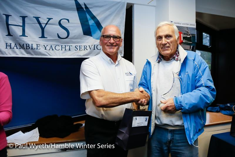 Toby Gorman accepts the Class 4 trophy in the HYS Hamble Winter Series 2018 - photo © Paul Wyeth / www.pwpictures.com