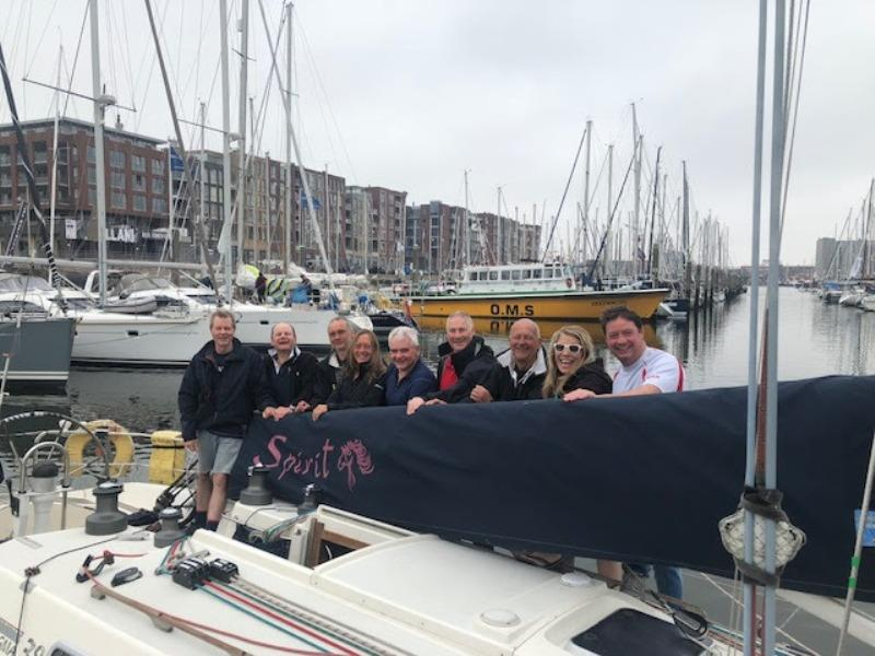 The Spirit Team celebrate at the Yacht Club Scheveningen. photo copyright Team Spirit taken at Royal Ocean Racing Club and featuring the Sigma 38 class