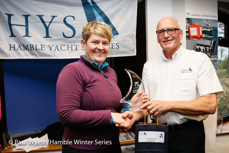 Vanessa Choules accepts the Class 3 trophy in the HYS Hamble Winter Series 2018 - photo © Paul Wyeth / www.pwpictures.com
