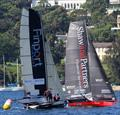 A critical moment for the two leaders at the windward mark in Rose Bay late in race 15 of the 18ft Skiff Club Championship
