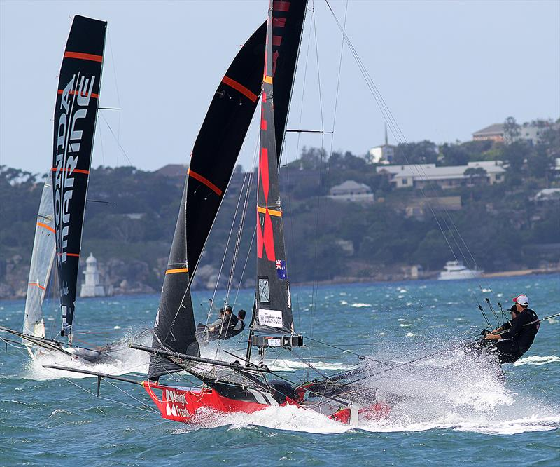 Two NZ teams Knight Frank and Honda Marine during 18ft Skiff JJ Giltinan Championship Race 3 - photo © Frank Quealey