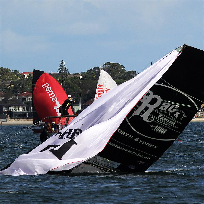 The young Rag and Famish Hotel crew capsized while leading just a few hundred metres from the finish of 18ft Skiff JJ Giltinan Championship Race 5 - photo © Frank Quealey