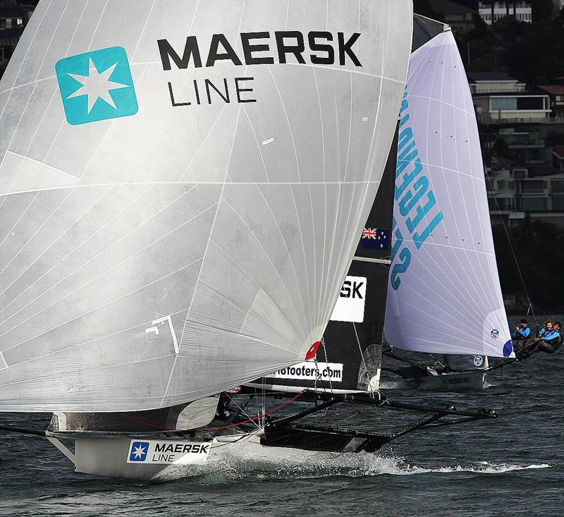Maersk Line heads for home to win 18ft Skiff JJ Giltinan Championship Race 5 photo copyright Frank Quealey taken at Australian 18 Footers League and featuring the 18ft Skiff class