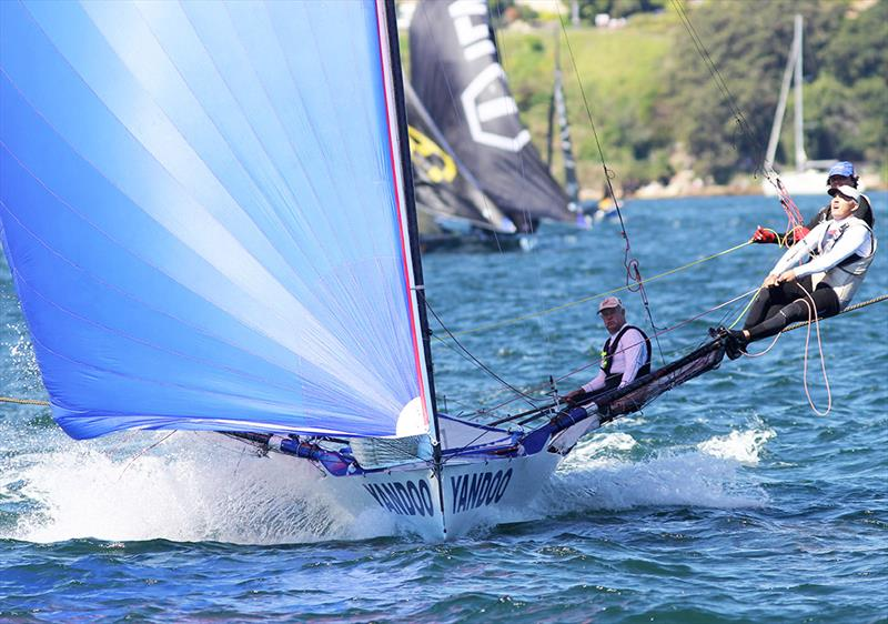 John Winning's Yandoo crew on the way to the wing mark off Clark Island in race 2 of the 18ft Skiff Spring Championship on Sydney Harbour - photo © Frank Quealey