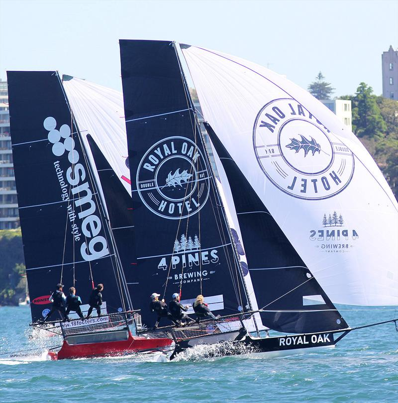 The Oak Double Bay-4 Pines and Smeg on a tight spinnaker run in race 1 of the 18ft Skiff Club Championship on Sydney Harbour - photo © Frank Quealey