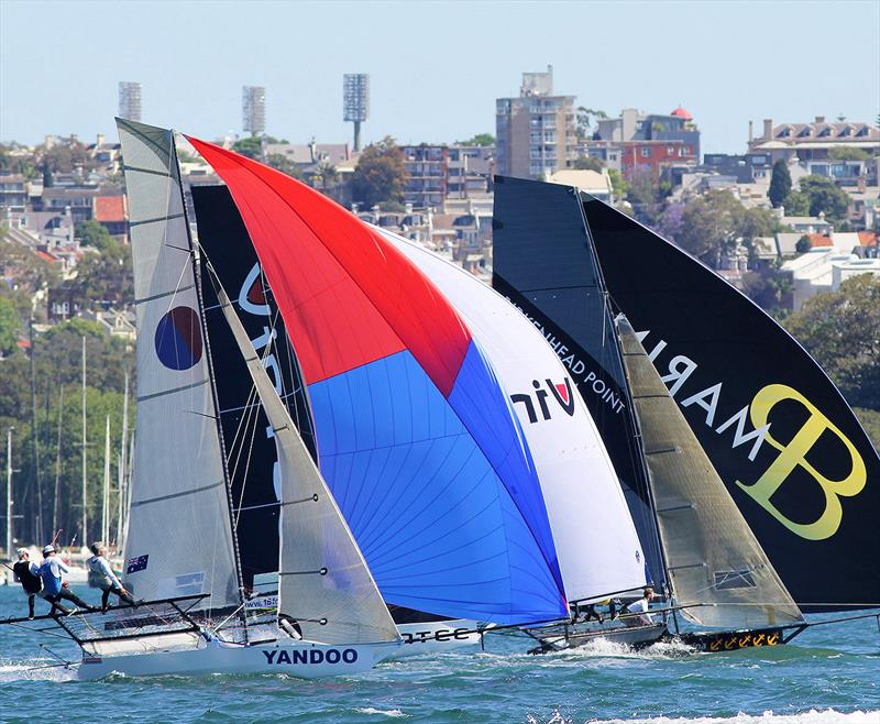 Tight spinnaker action in race 1 of the 18ft Skiff Club Championship on Sydney Harbour - photo © Frank Quealey