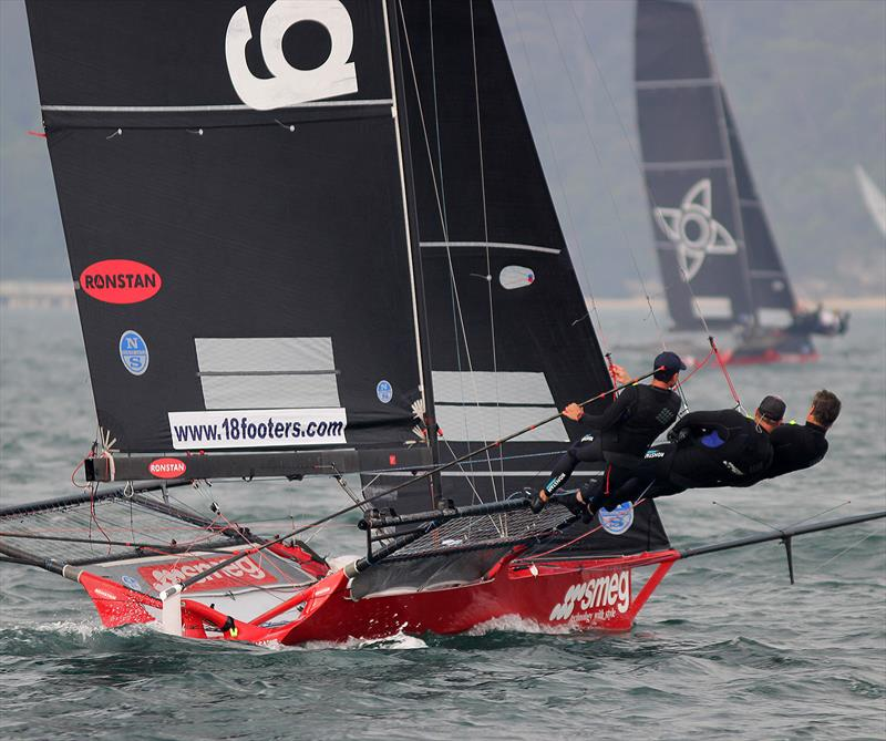 Smeg's crew show their windward form on the first leg of the course in race 4 of the 18ft Skiff Spring Championship on Sydney Harbour - photo © Frank Quealey
