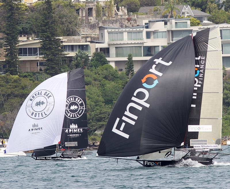 The battle for second place on the loop between Rose Bay and Taylor Bay in race 1 of the 18ft Skiff NSW Championship - photo © Frank Quealey
