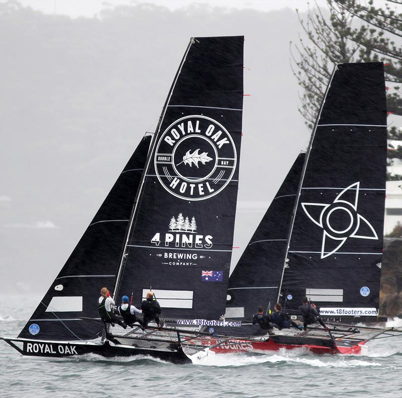 The Oak Double Bay-4 Pines powers over Noakesailing in race 1 of the 2020 18ft Skiff JJ Giltinan Championship - photo © Frank Quealey