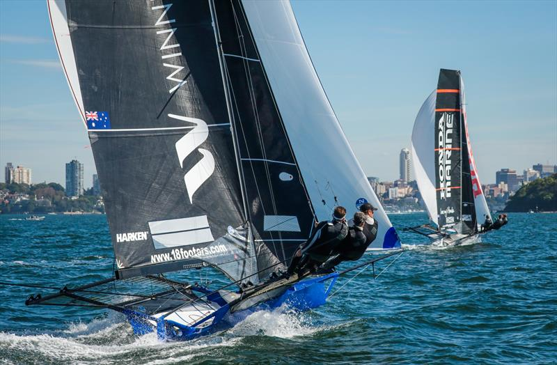 Races 8 & 9 on day 5 the 2020 18ft Skiff JJ Giltinan Championship photo copyright Michael Chittenden taken at Australian 18 Footers League and featuring the 18ft Skiff class