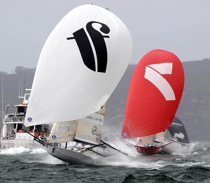 Thurlow Fisher Lawyers leads Gotta Love It 7 down the spinnaker run from the Beashel buoy - photo © Frank Quealey