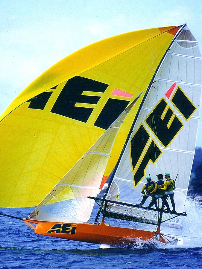 Stephen Quigley's AEI-Pace Express gave Patrick Corrigan his outright JJ Giltinan World Championship victory in 1996 photo copyright Frank Quealey taken at Australian 18 Footers League and featuring the 18ft Skiff class