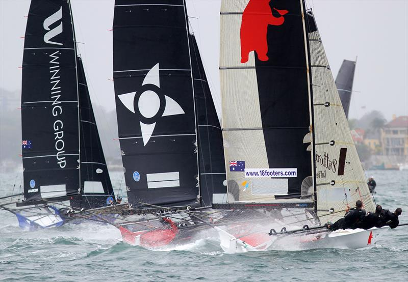 Race for the lead soon after the start during race 1 of the 18ft Skiff Club Championship - photo © Frank Quealey