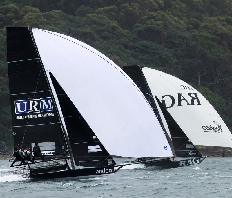 Andoo and Rag and Famish Hotel mid-fleet during race 1 of the 18ft Skiff Club Championship - photo © Frank Quealey
