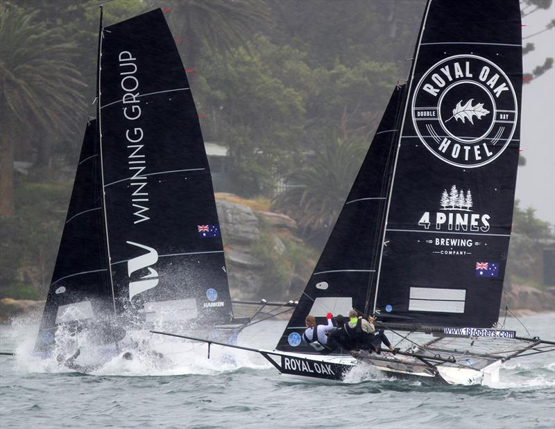 Battle for second place at Rose Bay during race 1 of the 18ft Skiff Club Championship - photo © Frank Quealey