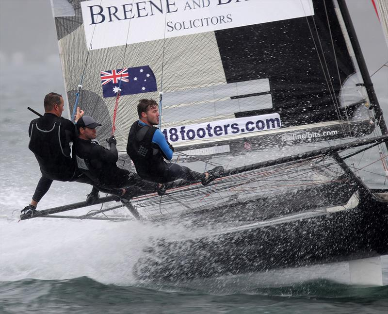 The Finport Finance crew in action during race 1 of the 18ft Skiff Club Championship - photo © Frank Quealey
