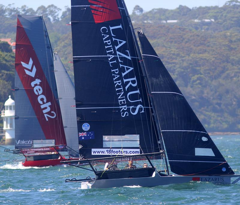 The Australian champion tech2 and the Lazarus Capital Partners rookie teams on the first windward leg during 18ft Skiff Spring Championship Race 7 photo copyright Frank Quealey taken at Australian 18 Footers League and featuring the 18ft Skiff class