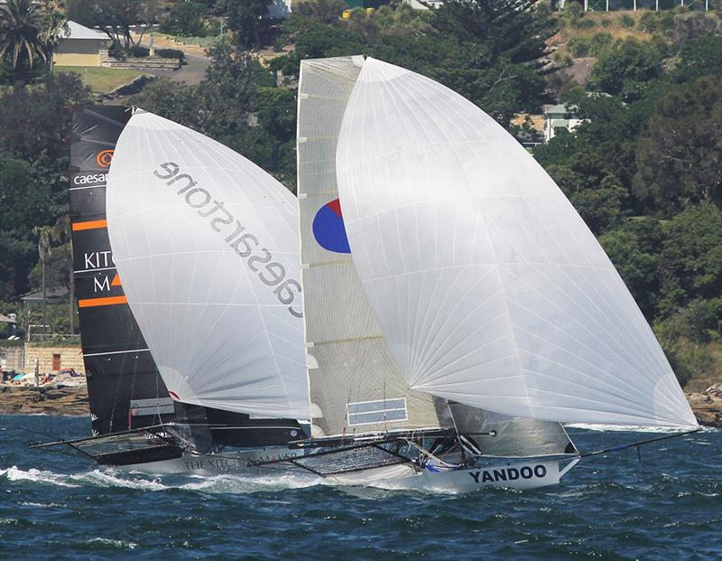 Spring champion Yandoo in spinnaker action with the young The Kitchen Maker-Caesarstone team photo copyright Frank Quealey taken at Australian 18 Footers League and featuring the 18ft Skiff class