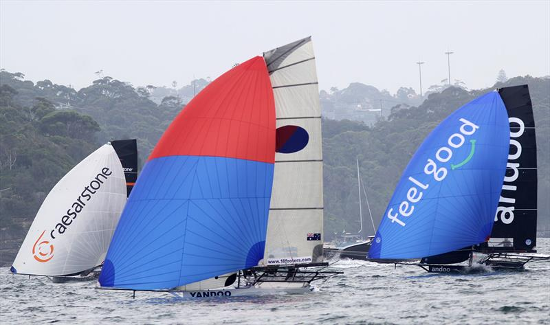 Light wind run to the wing mark during Race 1 of the 18ft Skiff NSW Championship - photo © Frank Quealey