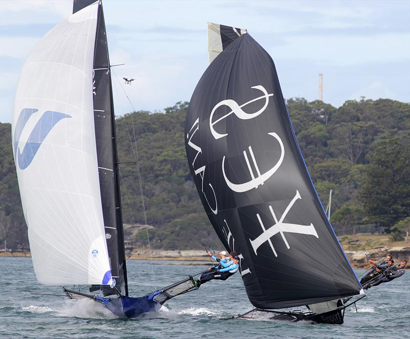 Winning Group and Finport Finance just 100 metres from the finish line during 18ft Skiff NSW Championship Race 4 - photo © Frank Quealey