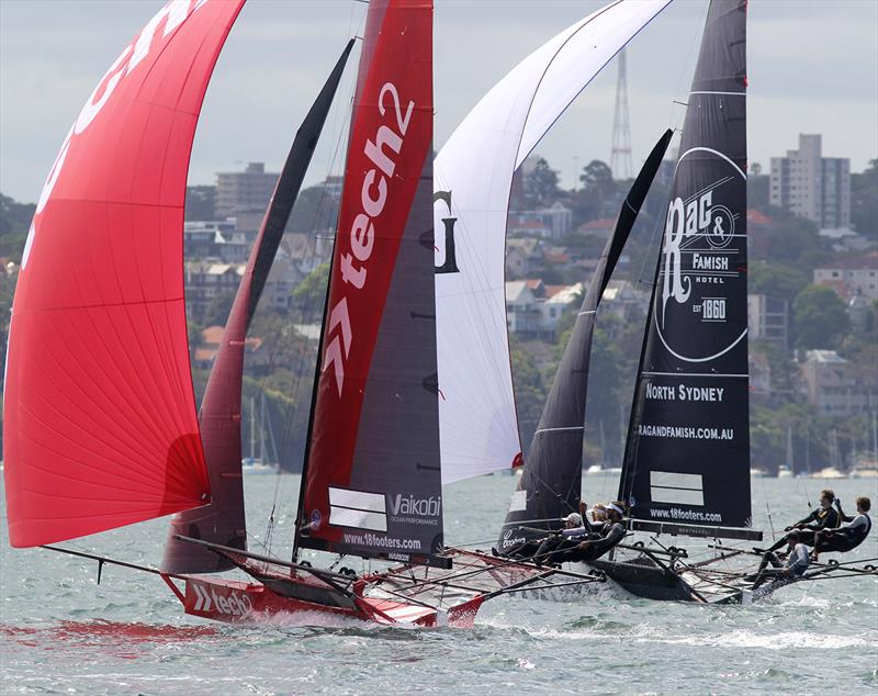 Spinnaker run between the islands during 18ft Skiff NSW Championship Race 4 - photo © Frank Quealey