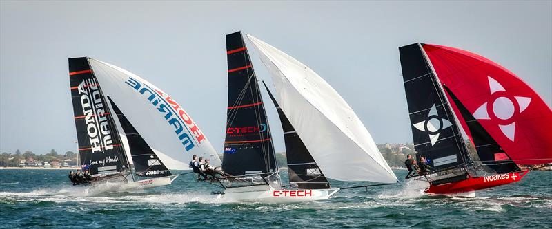 Honda Marine, C-Tech and Noakesailing - Race 3 - JJ Giltinan Trophy - Sydney harbour - March 5, 2019 photo copyright Michael Chittenden taken at Australian 18 Footers League and featuring the 18ft Skiff class