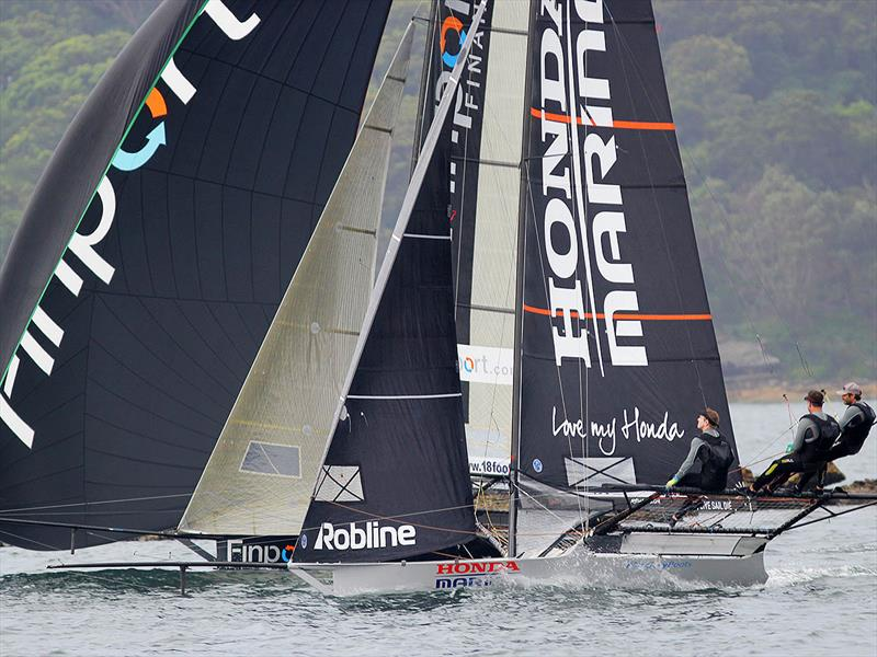 The race for second place as Finport Finance and Honda Marine set out on the final spinnaker run - 2019 JJ Giltinan Championship - photo © Frank Quealey