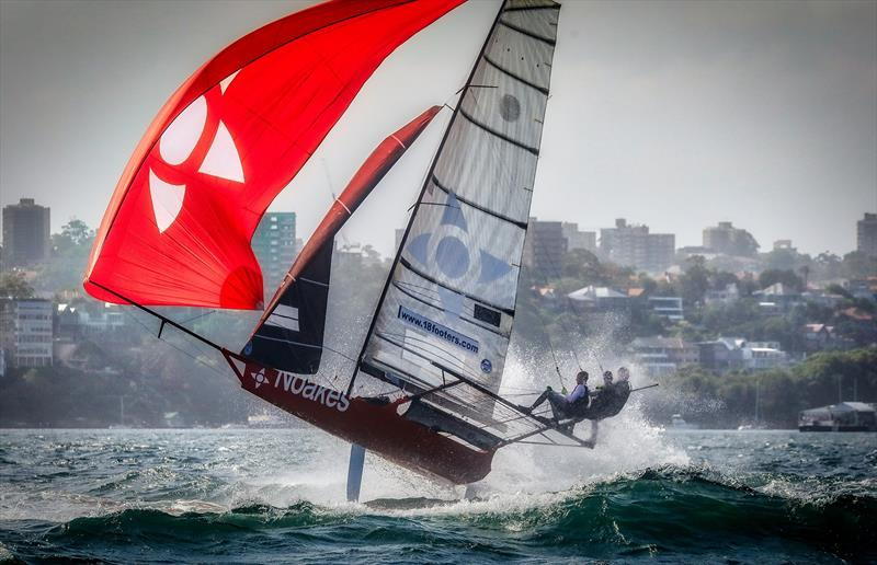 Noakes enjoys the big breeze earlier in the summer - 2018 - 18ft skiffs, Sydney - photo © Michael Chittenden