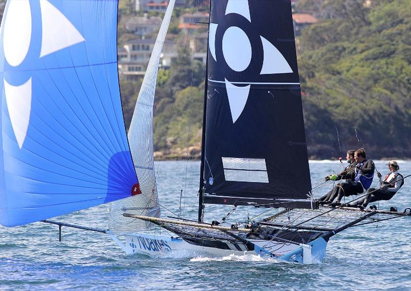 Yvette Heritage send Noakes Blue downwind on the first lap of the course - photo © Frank Quealey
