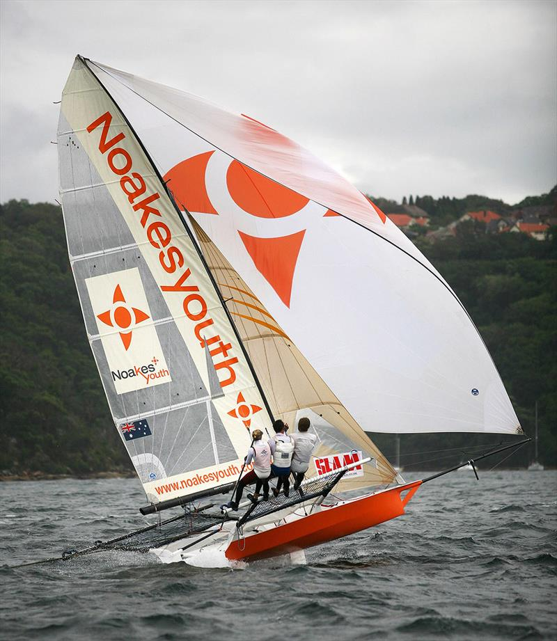 Jacqui Bonnitcha drives her Noakes Youth skiff hard at the 2007 JJ Giltinan Championship on Sydney Harbour - photo © Frank Quealey